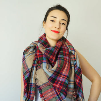 Colorful Blanket Scarf Gift for Women Plaid blanket scarf Tartan Scarf Zara blanket Winter accessories Oversized scarf Plaid Blanket Scarf