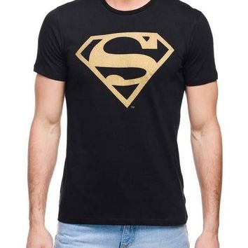 Superman Super Gold Black Half Sleeve Men T-Shirt