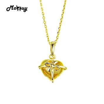 MoBuy MBNI017 Heart Cut Natural Gemstone Citrine Bow Necklaces & Pendants 925 Sterling-Silver-Jewelry 14K Yellow Gold Plated