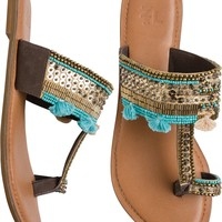 SEQUINED LEATHER TOE RING SANDAL
