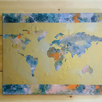 World Map- Acrylic Painting, Travel, Poured Acrylic, Abstract, Gold, Modern, Classroom, Study, Home Decor, Wall Art, Continents (16x20)