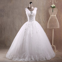 JAEDEN Ball Gown V Neck Wedding Dresses Tulle Cover Satin Appliques Crystal Beads Floor Length Bridal Wedding Gowns W033