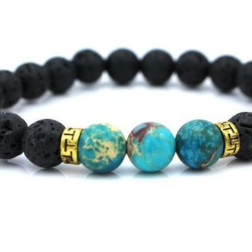 Products Lava Stone Beads Natural Stone Bracelet, Men Jewelry, Stretch Yoga Bracelet