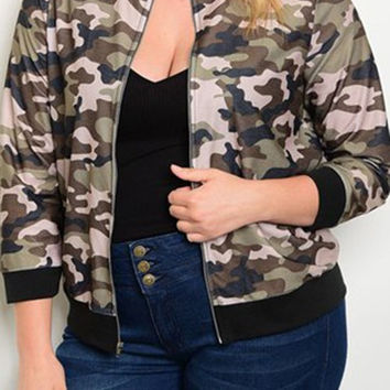 Camo Bomber Jacket - Curvaceous