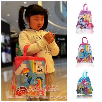 1PCS My Little Ponies Children Drawstring Backpacks School Shopping Bags 34*27CM Non Woven Fabrics Kids Birthday Party Best Gift