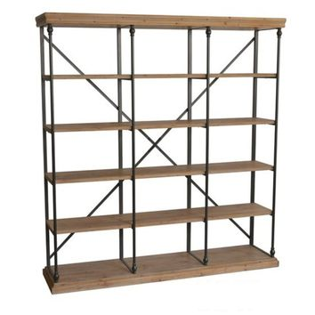 Metal and Wood 3 Section Bookshelf