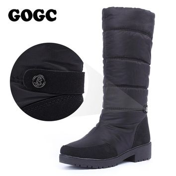 GOGC High Winter Boots Women Waterproof Snow Boots Warm Winter Shoes Women Boots Plus Size Easy Wear Desinger Women High Boots