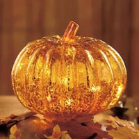 Antiqued Glass Lighted Pumpkin 6 Flickering Lights Inside Fall Harvest Decor New