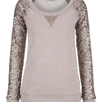 Sequin Sleeve Scoop Neck Sweatshirt - Ashes Of Roses