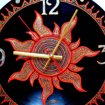 Sun Clock Record Clock Hand Painted Clock Wall Clock Vinyl Clock Home Decor Unique Clock Recycled Vinyl Modern Wall Clock Sunburst Clock