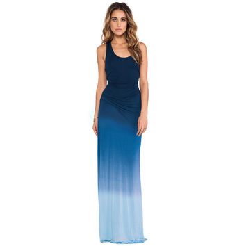 Blue Gradient Halter  Ruched Maxi Dress
