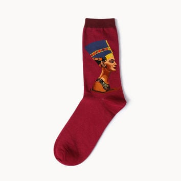 Egyptian Queen Nefertiti Socks - Red