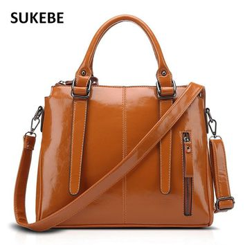 SUKEBE 2017 New Vintage Oil Wax Handbag Geniune Leather Women Bag Ladies Shoulder Bags Women Messenger Bag Bolsas Femininas