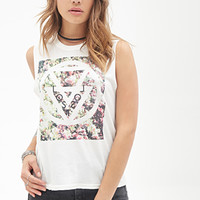 FOREVER 21 Mirrored Lost Muscle Tee Cream/Multi