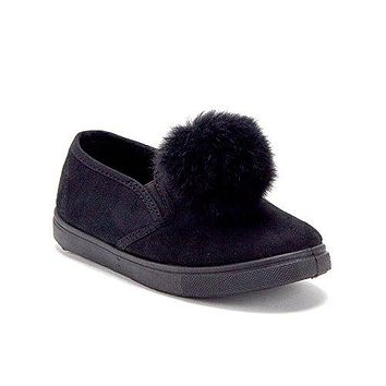 Girls CAL-02K Low Top Slip On Pom Pom Sneakers Shoes