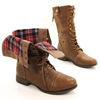 Legend8 Leatherette Military Combat Boot Lace Up Foldable Women New Shoe,Legend-8 Tan Pu 7