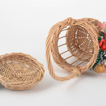 Handmade woven basket for blessing of water with lid decorated with cones