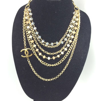 Multi Strand Gold And Stone Necklace W Stamped Chanel Charm  (Handmade)