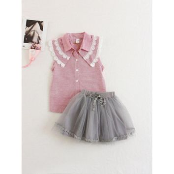 Kids Applique Striped Top With Mesh Skirt
