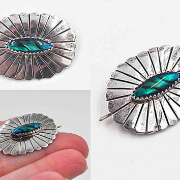 Vintage Navajo Sterling Silver & Abalone Concho Brooch, Pin, Scalloped, Sawtooth, Dyed Abalone, Teal, Native American, Pretty! #c122