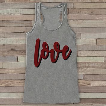 Womens Valentine Shirt - Cute Valentine's Day Tank Top - Love Shirt - Women's Happy Valentines Tank Top - Valentines Shirt - Grey Tank Top