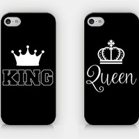 KING & QUEEN - Couple Cases - Full printed case for iPhone - by HeartOnMyFingers - CPL-020