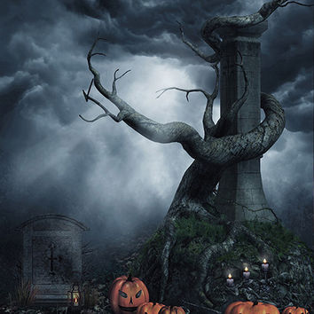 Tombstone Pumpkins Printed Photography Backdrop / 1051