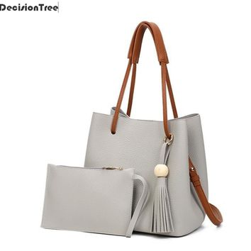 High Capacity Women PU Leather Drawstring Bucket Bag Vintage Women Handbag Ladies Totes Female Tassel Messenger Shoulder Bags
