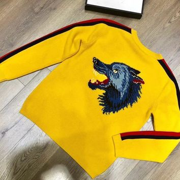 ca qiyif Fashion Brand Wolves Men's Sweater