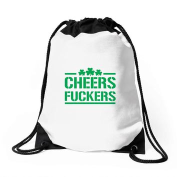 cheers fckers Drawstring Bags