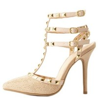 Beige Combo Studded Rhinestone Strappy Pumps by Charlotte Russe
