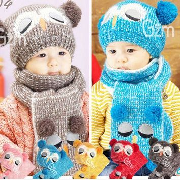 2016 New Owl Design Acrylic Children's Hat And Scarf Knitted Warm Hats For Children Winter Caps For Infant Baby Boy HT52019+30