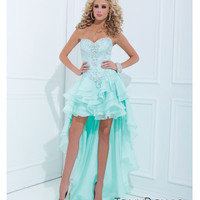 Tony Bowls 2014 Prom Dresses - Aqua Organza Strapless High-Low Prom Dress