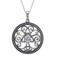 Sterling Silver Cubic Zirconia Oxidized Celtic Tree of Life Pendant Necklace (0.46 cttw), 18""