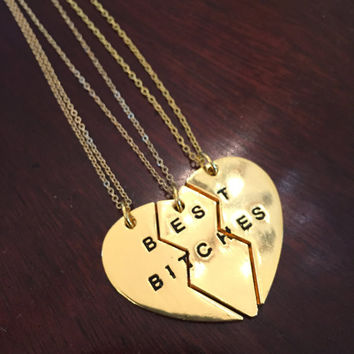 Best Bitches Triple Necklace Set in Gold