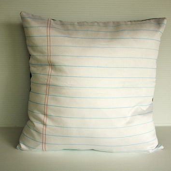 Notebook paper organic cotton fabric cushion by mybeardedpigeon