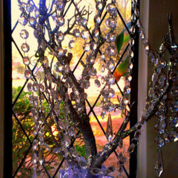 Sale Bling Manzanita Tree Centerpiece Silver Glitter Bling Centerpiece,Bling Wishing Tree, With hanging crystals and Bling rhinestone vase.