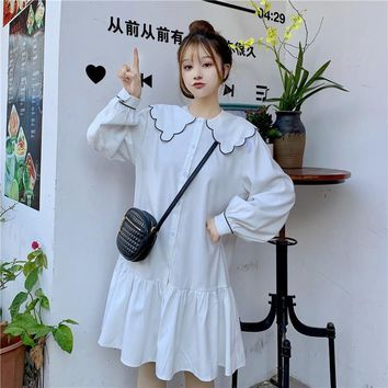 Casual Loose Lace Collar Dress Women's Dresses Ins Lady Kawaii Ulzzang Female Vintage Harajuku Punk Clothes For Women Chic Ins