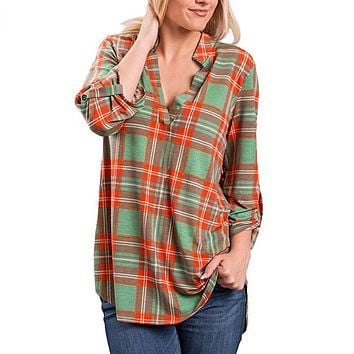 Women Casual Spring Print V-neck Three Quarter Plaid Shirt Top Blouse
