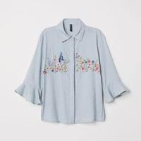 Blouse with embroidery - Dusky green - Ladies | H&M GB