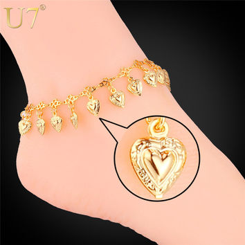 U7 Love Gift Heart Bracelet On Leg Gold 18K /Platinum Plated Summer Jewelry  Anklet Bracelet Foot Jewelry Women A318