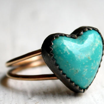 Turquoise Heart Ring Oxidized Sterling Silver and 14k by luckyduct