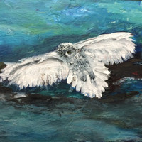 Snowy White Owl Fine Art Prints Aesthetically Pleasing Original Artwork Acyrlics Painting Beautiful Picture Wall Art Decor Fantasy Zen Art