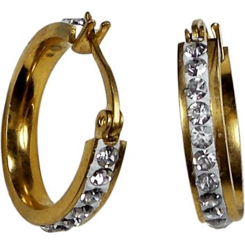 Gold Plated Stainless Steel Round Huggies Hoop Earrings Crystals 3mm x 21mm x 20mm