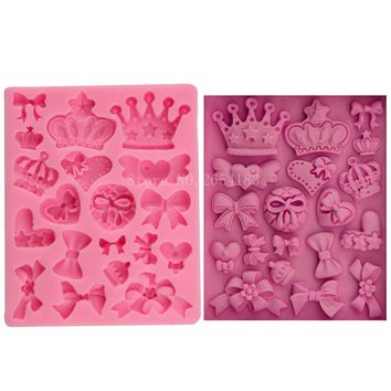 Cartoon Crown & Bow Tie Silicone Fondant Soap 3D Cake Mold Cupcake Jelly Candy Chocolate Decoration Baking Tool Moulds FQ3065