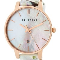 Women's Mother of Pearl Leather Strap Watch Gift Set