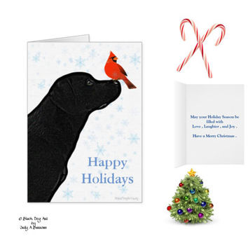 Black Lab Christmas Cards 10 - Labrador Christmas Cards - Christmas in July - Black Lab Art 9 - Black Dog Christmas Card -Cardinal