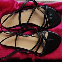 J CREW SHOES BLACK LEATHER STRAPED SANDALS  !S7 M/37! MADE IN ITALY