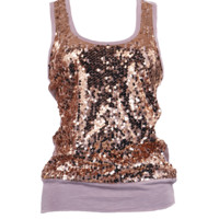 Pink Radiant Orchid And Copper Sequin Tank Top