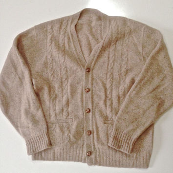 Vintage Men Cardigan -- Oatmeal Flecked With Cable Knit -- Ivy League Cardigan -- Rockabilly -- Winter -- Preppy -- Men M Medium